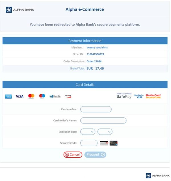 WP Woocommerce Alpha Bank e-commerce Redirection